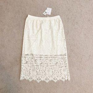 WAYF Midi White Lace Skirt